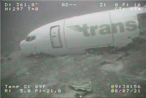 Forward fuselage of the 737 found on the seabed a week later. Image courtesy SEAMOR Marine Ltd.