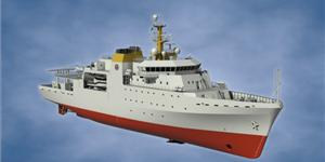 The 95-meter Hydrographic Survey Vessel is said to be the most complex vessel ever built in South